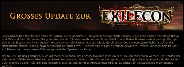 Großes Update zur Exilecon